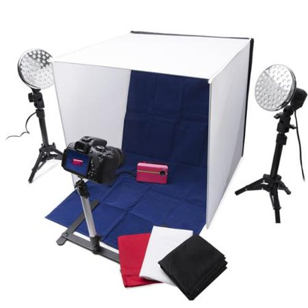 Stand Kit (Polaroid Pro Table Top Photo Studio Kit with 2 LED Lights, 2 Light Stands, 1 Tripod, 4 Color Backdrops, 3 Diffuser Screens, 1 Carry)