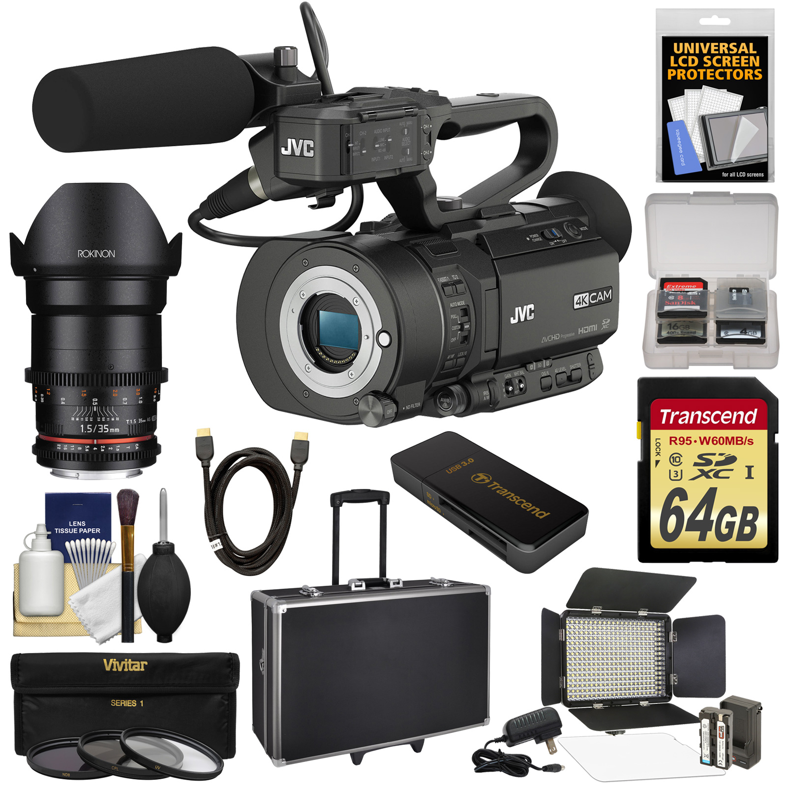 JVC GY-LS300CHU Ultra 4K HD 4KCAM Super 35 Pro Camcorder & Mic Top Handle Audio Unit with Rokinon 35mm T 1.5... by JVC