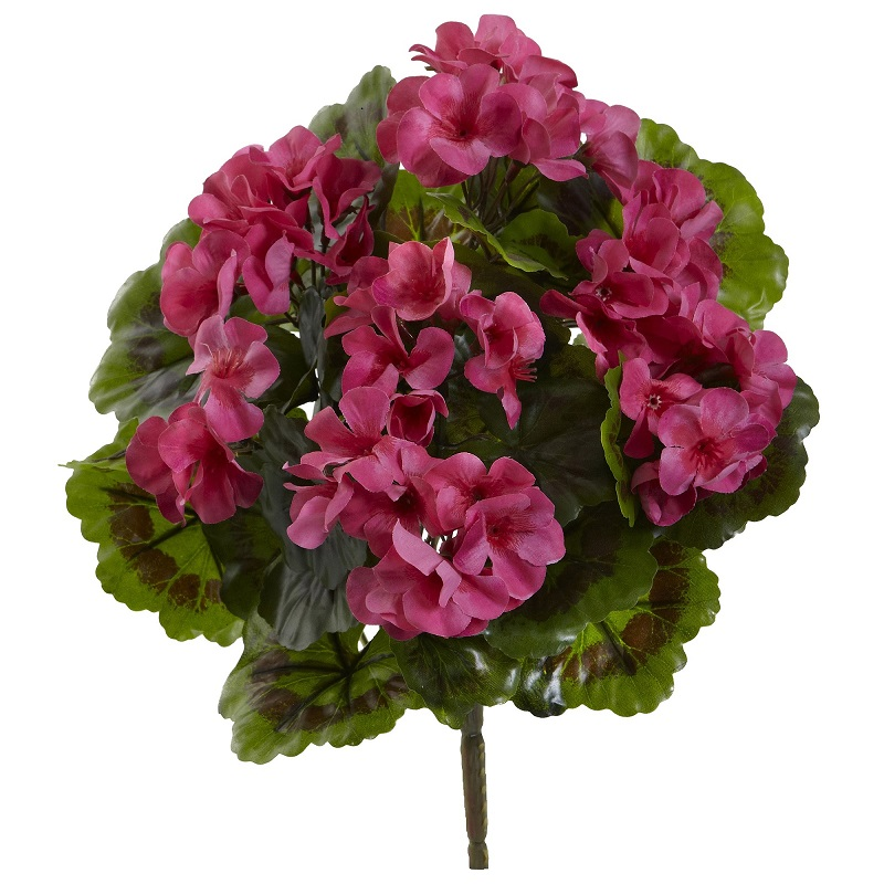 Nearly Natural Geranium Artificial Bush UV Resistant, Set of 4 (Indoor/Outdoor)