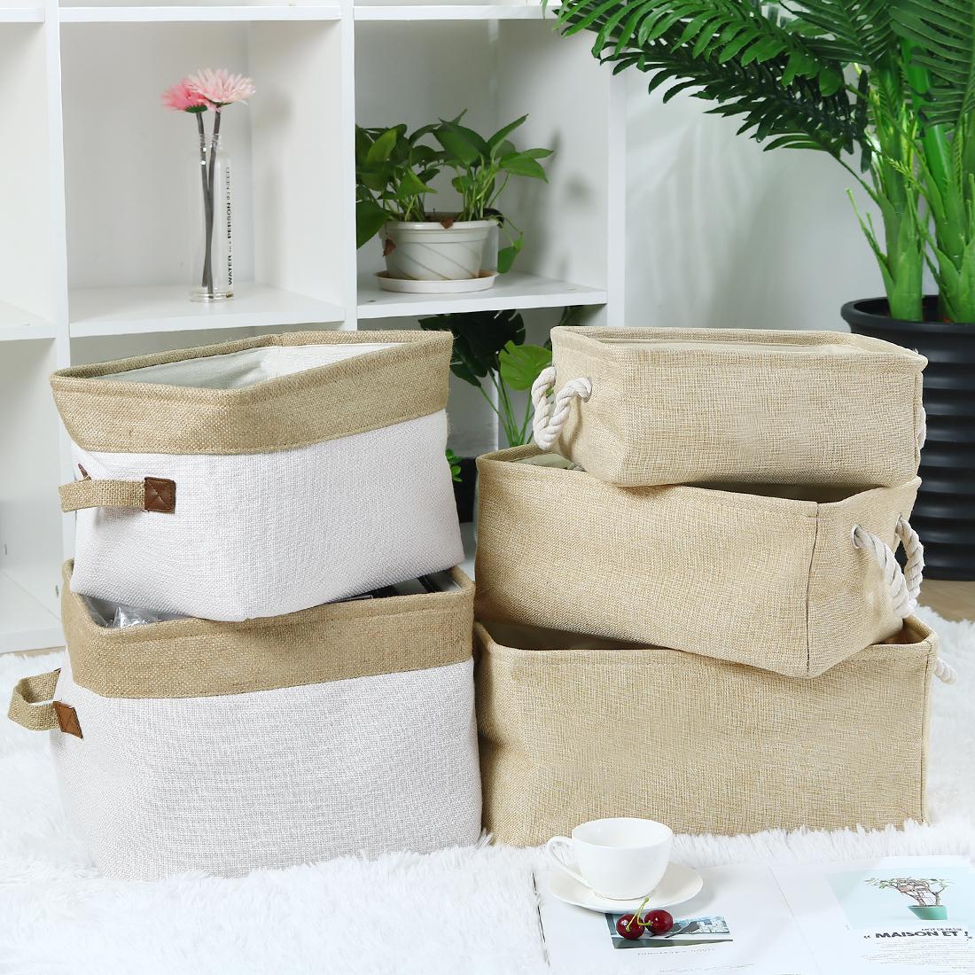 Home Fabric Storage Basket Bin w Dual Rope Handles for Laundry Khaki, Small - image 4 de 8