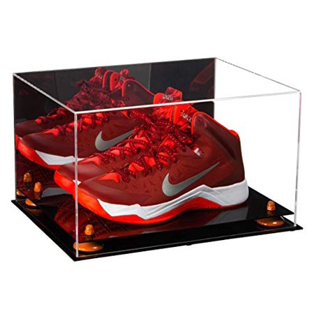 Versatile Deluxe Acrylic Display Case - Large Rectangle Box with Orange Risers and Mirror 15