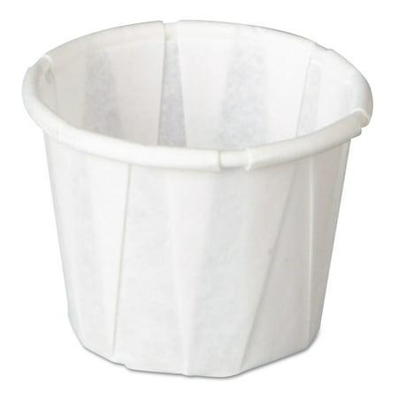 Genpak Squat Pleated .5 oz. Paper Portion Cups, White, 5000 count Squat Paper Cup