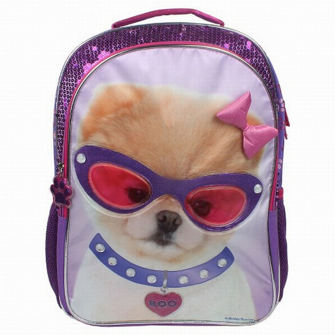 Boo the World's Cutest Dog Backpack With Purple Sequins School ...