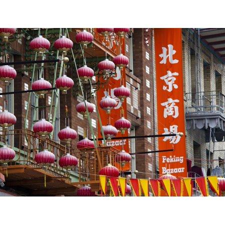 Chinese Street Lanterns, Chinatown, San Francisco, California, Usa Print Wall Art By Walter Bibikow