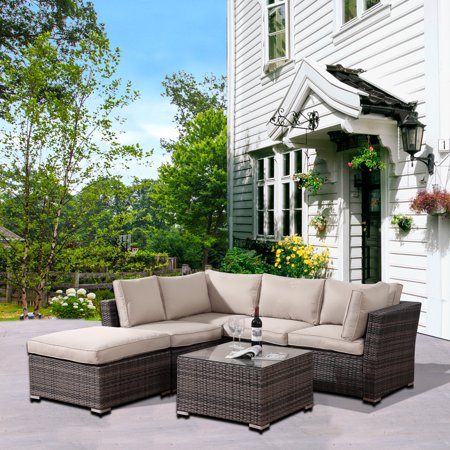 Clearance! 6-Piece Patio Bistro Set, PE Rattan Wicker Patio Furniture Set, Outdoor Conversation Sets with Glass Coffee Table, Sectional Sofa Set for Backyard Porch Garden Balcony Lawn Poolside, Q12726