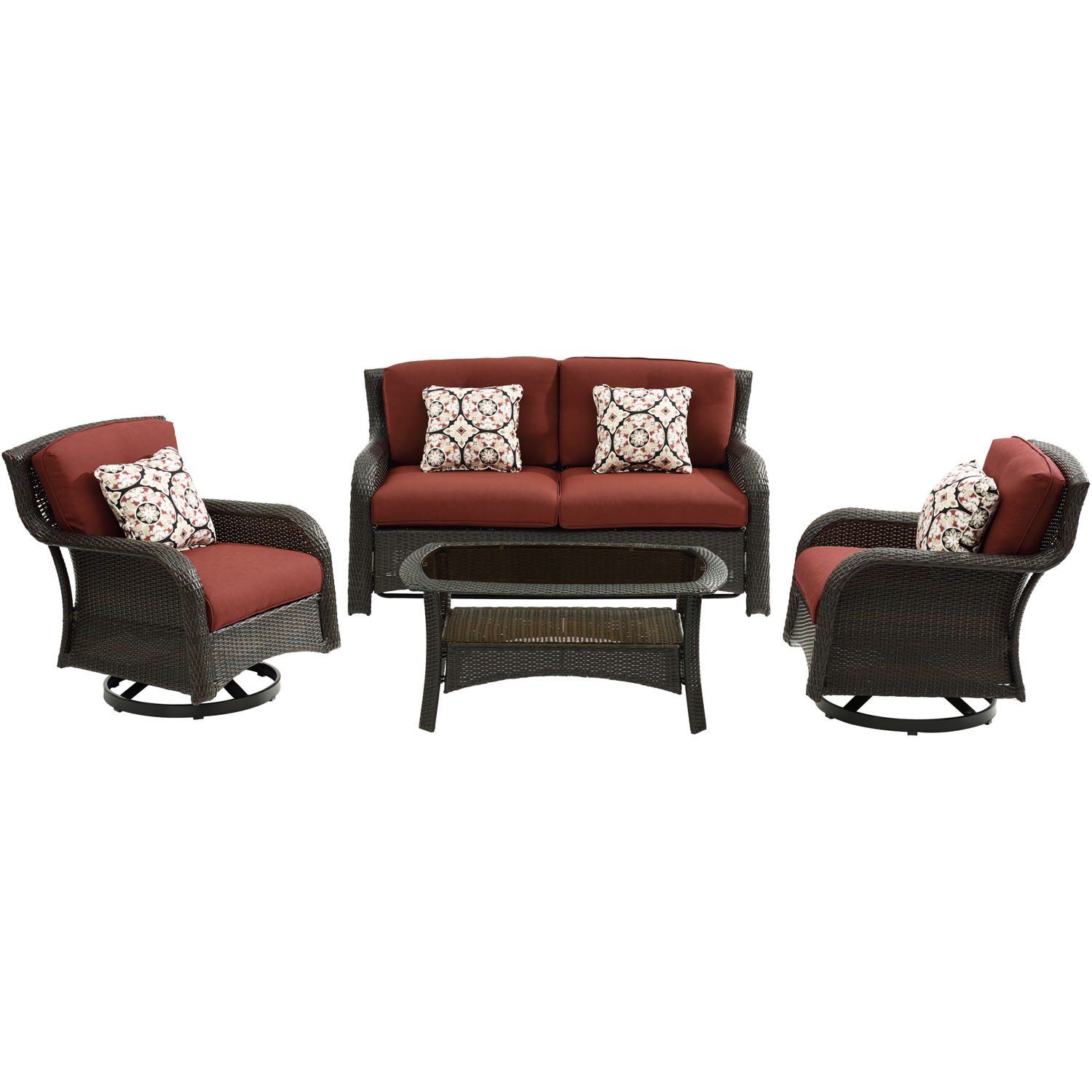 Hanover Strathmere 4-Piece Lounge Set in Crimson Red