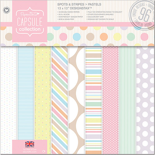 Docrafts Papermania Spots/Stripes Pastels Designstax, 12 inch x 12 inch, 48/Sheets, 96 Designs, 200gsm/75# Cover Wt