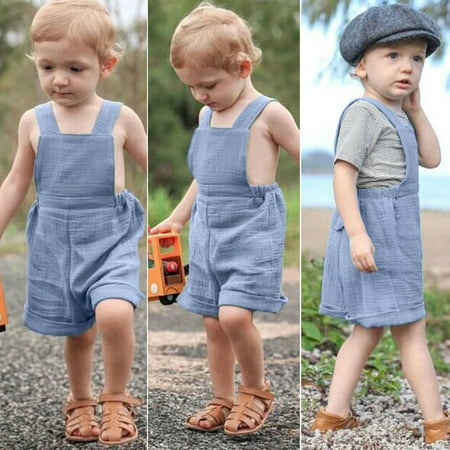 Hot Blue Cute Soft Baby Girls Boy Holiday Casual Overall Soft Pants 12 -
