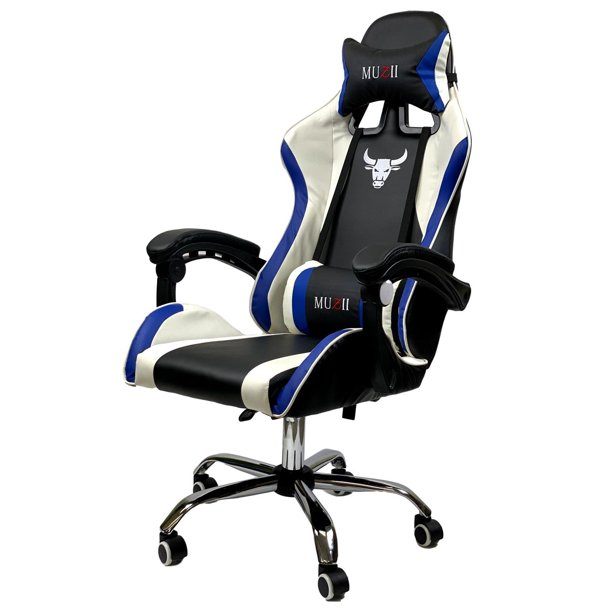 ViscoLogic MUZII Ergonomic Racing Adjustable Height Computer Office Gaming Chair (Black Blue White