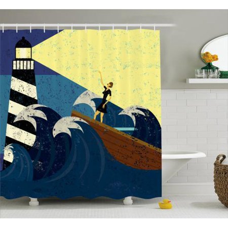 Lighthouse Shower Curtain Grunge Abstract Artwork Of A Mysterious Woman In Boat Sea Storm