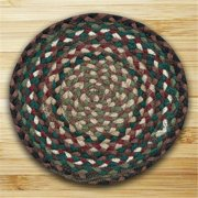 Earth Rugs 46-414 Round Miniature Swatch, Green, Ivory and Brownstone