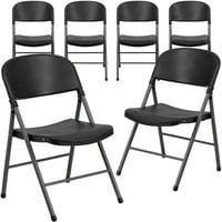 Black Plastic Folding Chair, Set of 6
