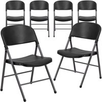 Black Plastic Folding Chair, Set of 6