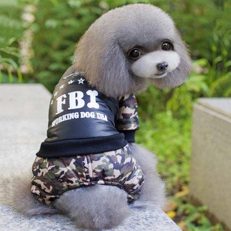 Dog Four Leg Dress Coat FBI-Printing Letter Camouflage Jumpsuit Cotton Coat - image 7 de 7