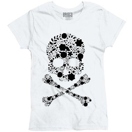 Day of The Dead Dia de los muertos Floral Sugar Skull Ladies T-Shirt by Brisco Brands