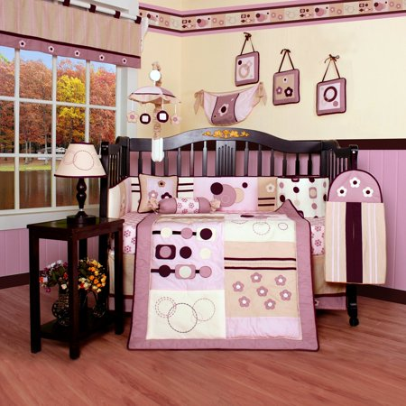 Pink And Brown Baby Bedding - Geenny CRIB-CF-203 Artist 13-Piece Baby Bedding Set