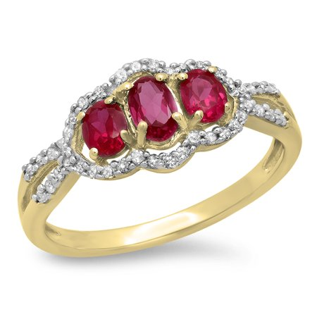 Gold Oval Cut Lab (1.40 Carat (ctw) 14K Yellow Gold Round Cut White Diamond & Oval & Round Cut Lab Created Ruby Ladies Bridal 3 Stone Split)