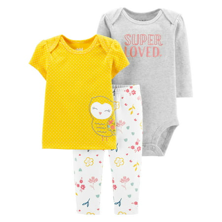 Child Of Mine By Carter's Long SleeveBodysuit, T-Shirt & Pants, 3pc Outfit Set (Baby Girls)