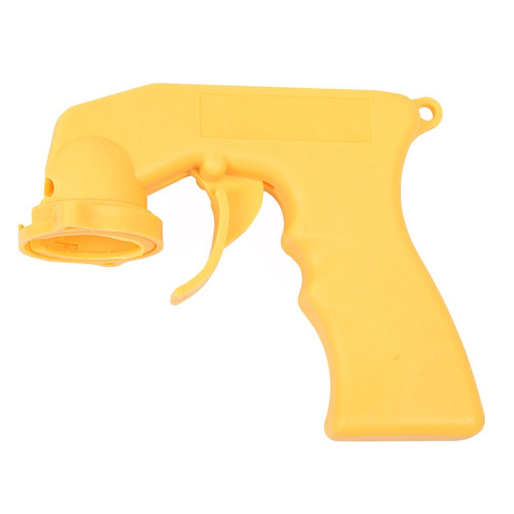 Portable Spray Adaptor Aerosol Spray Gun Handle with Full Grip Trigger Locking Collar yellow