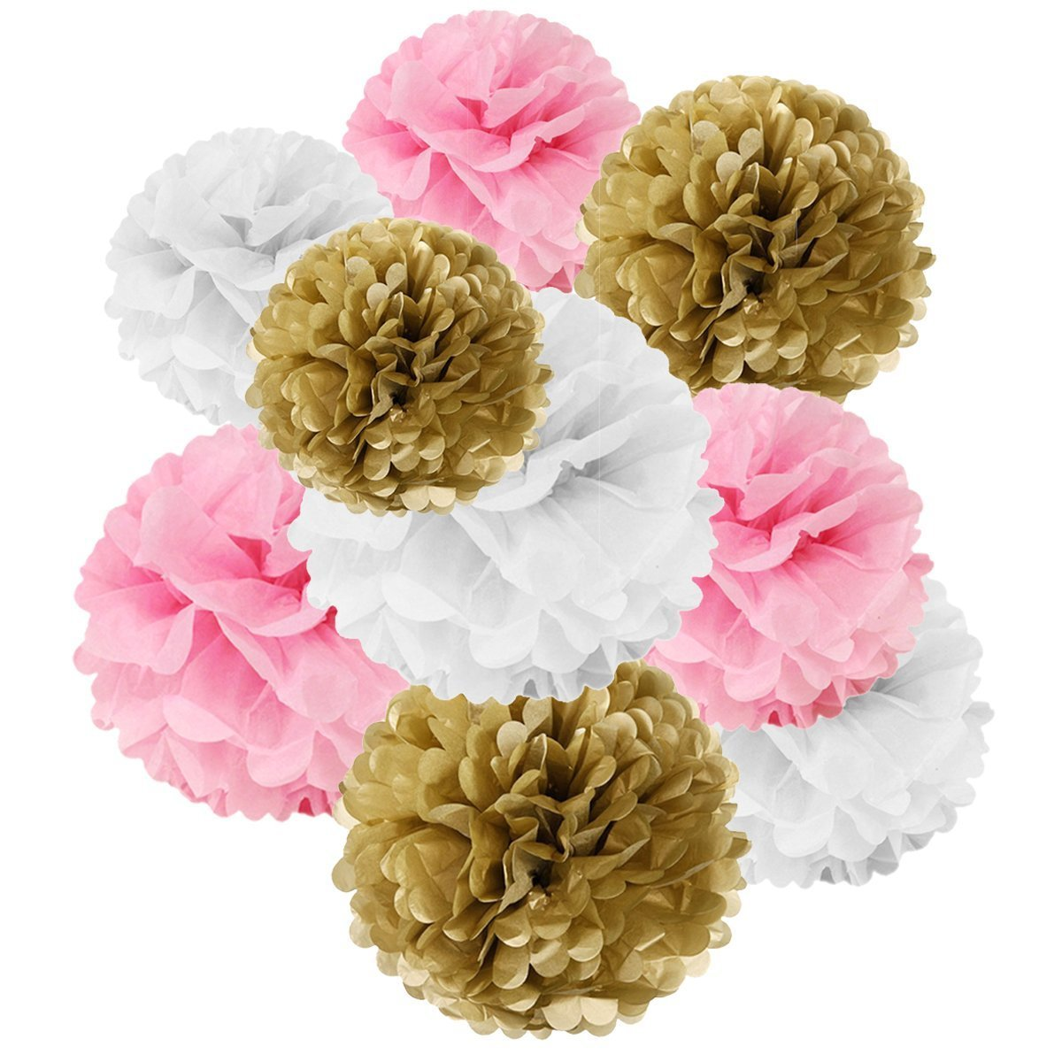 Wrapables® Set of 18 Tissue Pom Pom Party Decorations for Weddings, Birthday Parties Baby Showers and Nursery Decor, Pink/ Gold/ White