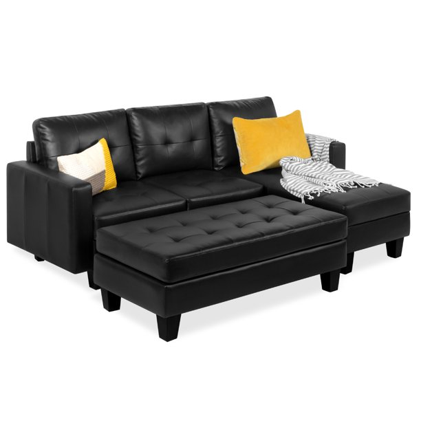 Best Choice Products 3-Seat L-Shape Tufted Faux Leather Sectional Sofa Couch Set w/ Chaise Lounge, Ottoman Bench - Black
