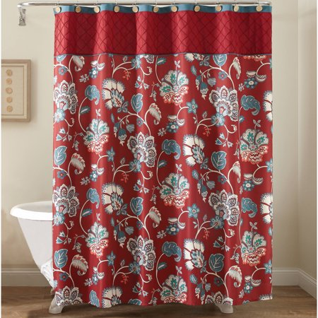 Better homes gardens polyester 72 x 72 red jacobean - Better homes and gardens shower curtains ...