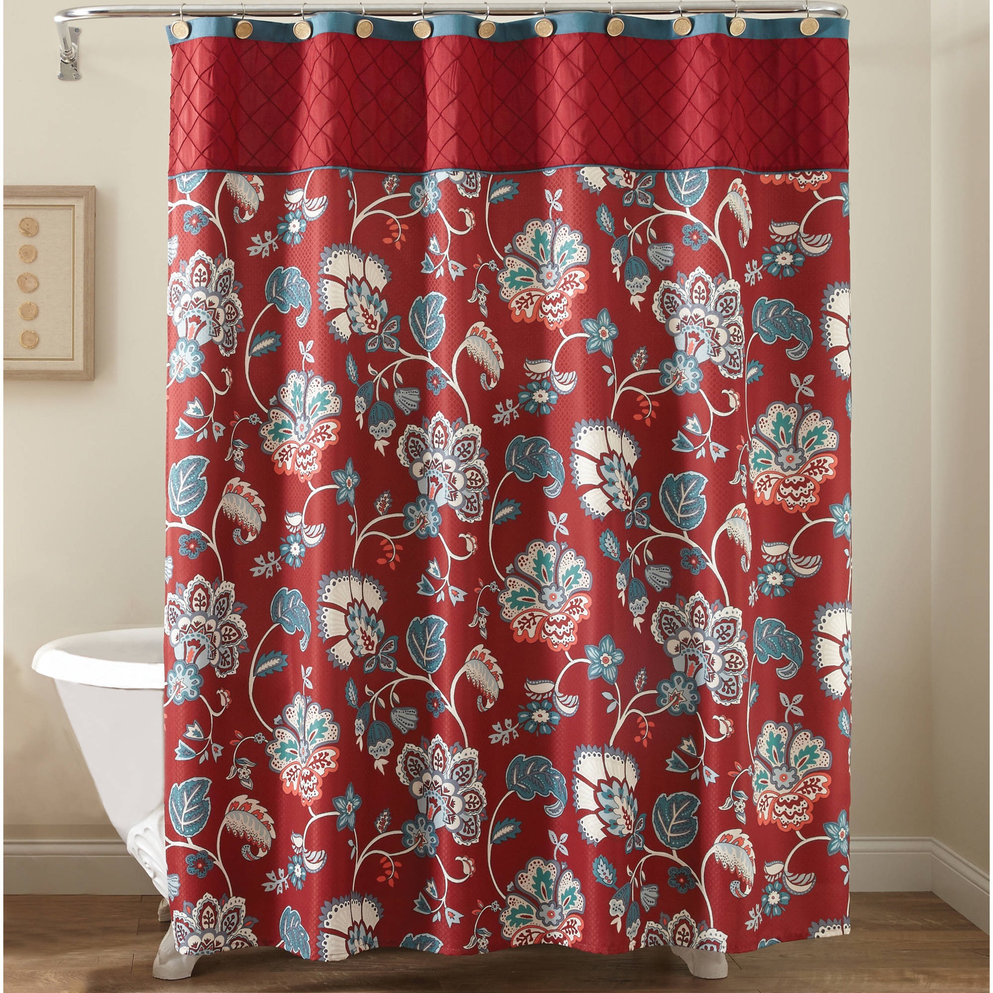 Delightful Better Homes And Gardens Red Jacobean Fabric Shower Curtain