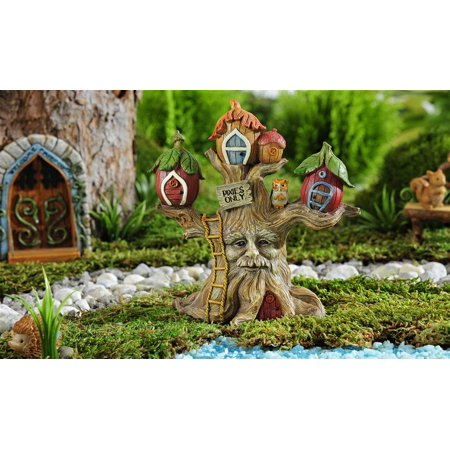 Fairy Garden Enchanted Forest Treehouse with Birdhouses and Hidden Face