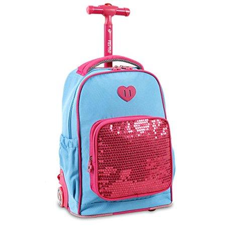 J World New York Kids' Sparkle Rolling Backpack Sky Blue - image 1 of 4