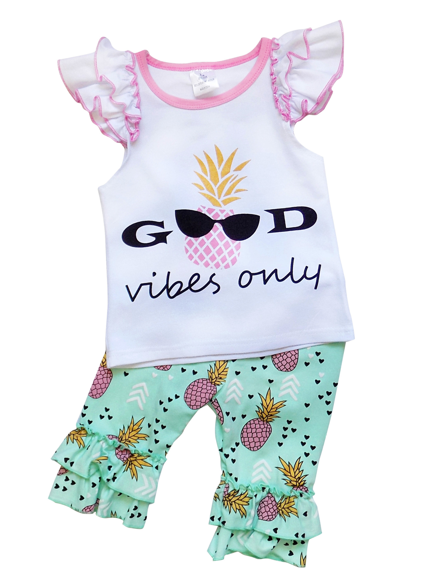 So Sydney Girls Toddler Deluxe Novelty Ruffle Summer Boutique Shorts Outfit