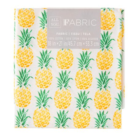 Patterned Quilting Fabric Fat Quarters: Pineapple, 18 x 21 in