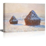 wall26 - Claude Monet Wheatstacks - Impressionist Modern Art - Canvas Art Home Decor - 32x48 inches