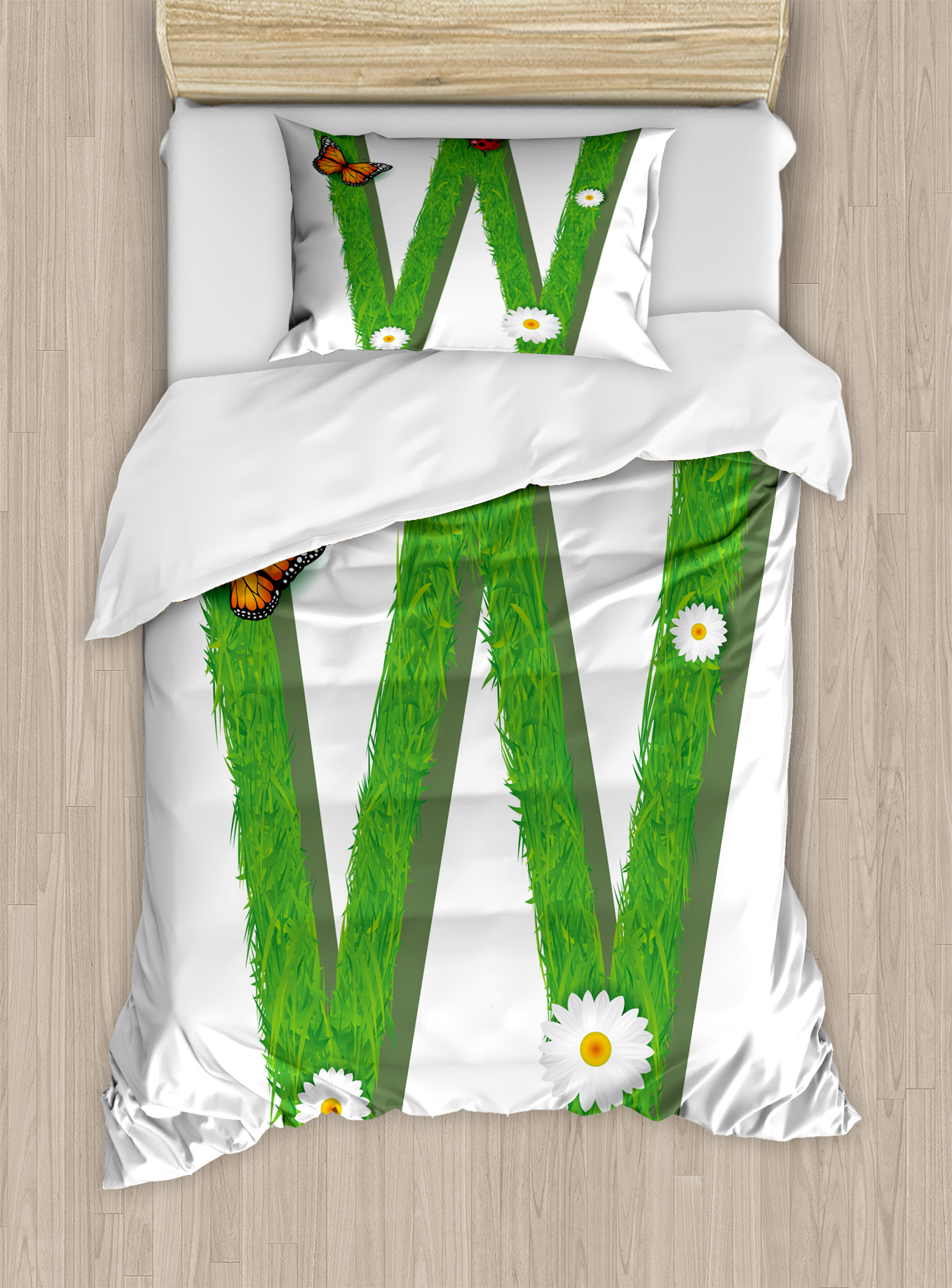Letter W Twin Size Duvet Cover Set, Uppercase W Nature Influences Butterfly Freedom... by Kozmos
