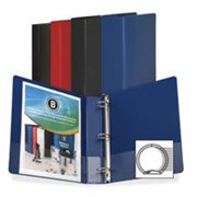 Business Source BSN28526 Round Ring Binder, with Pockets, .5 in., Black