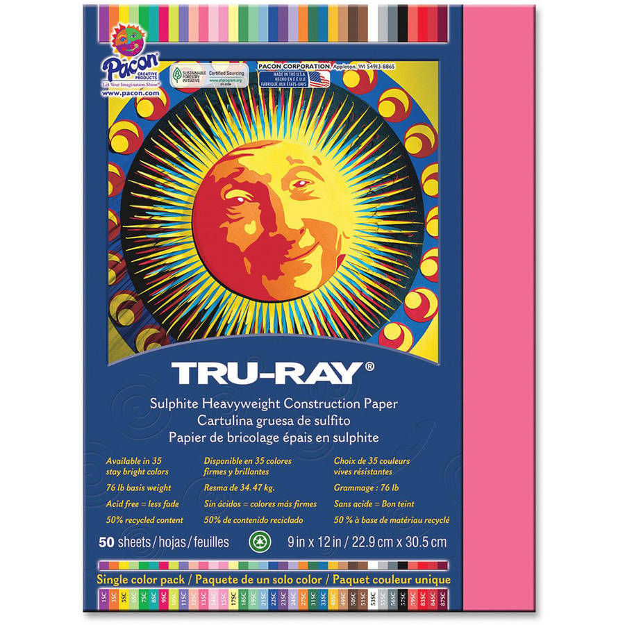 Pacon Tru-Ray Sulphite Construction Paper, Pack of 50, Light Red