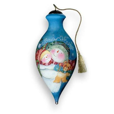 Ne 'Qwa Art 179-SN-SW Snow Hugs Hand-Painted Glass - Ne Qwa Halloween Ornaments