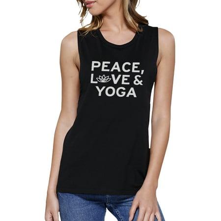 Peace Love Yoga Muscle Tee Yoga Work Out Tank Top Cute Yoga T Shirt