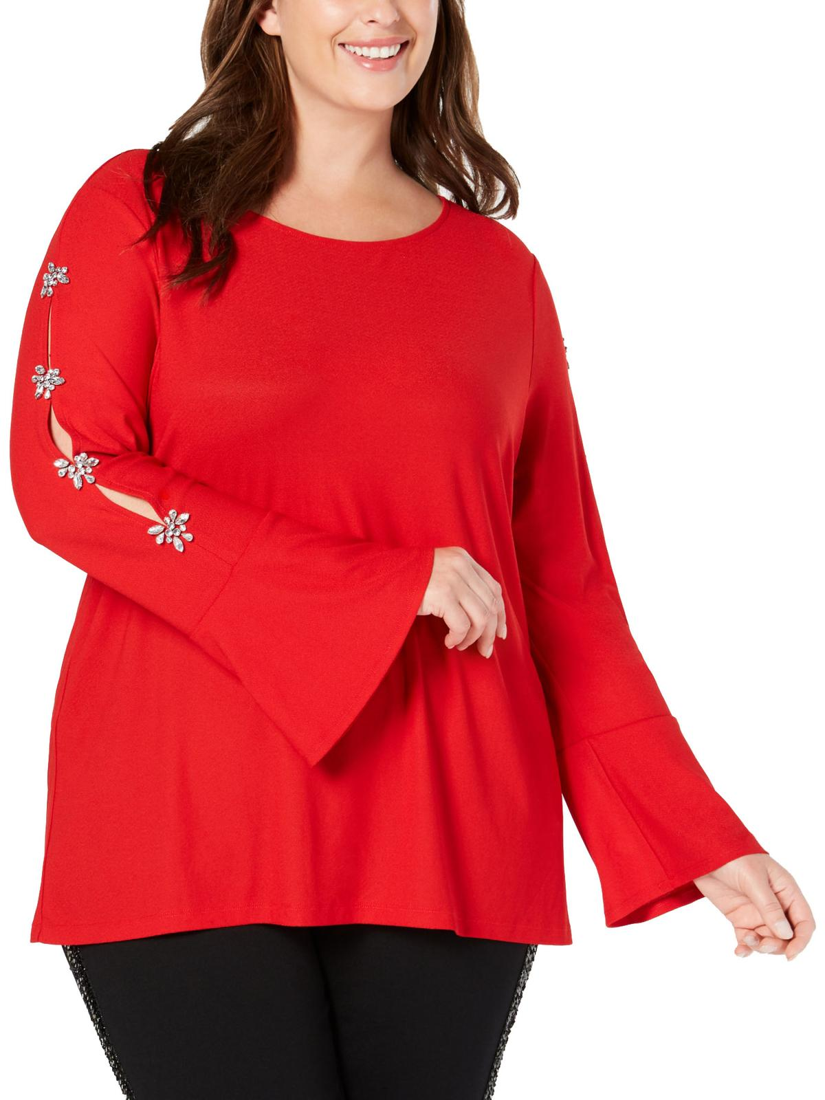 INC Womens Ribbed Long Sleeves Casual Pullover Top Shirt Plus BHFO 5425