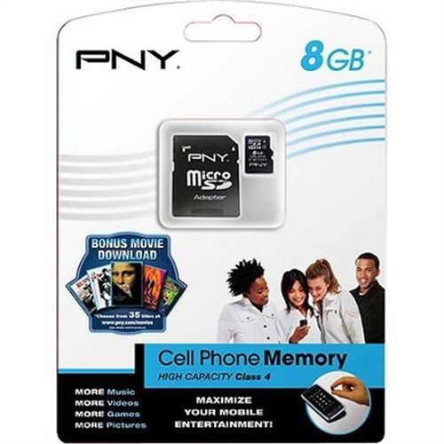 Refurbished PNY 8 GB microSDHC Class 4 Flash Memory Card (P-SDU8G4-GE)