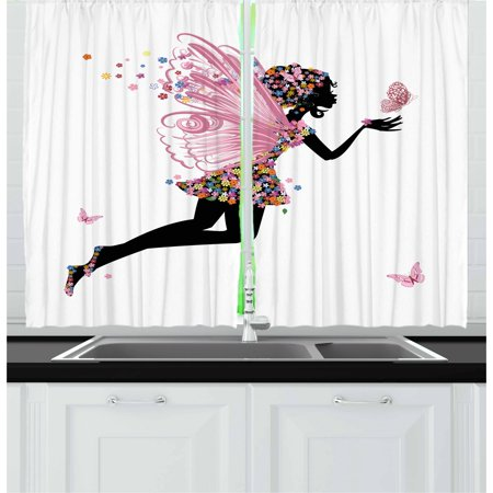 Fairy Curtains 2 Panels Set, Floral Arrangement Dress Pattern Winged Girl with Butterflies Cartoon Style Angel, Window Drapes for Living Room Bedroom, 55W X 39L Inches, Multicolor, by Ambesonne - Butterfly With Angel Wings