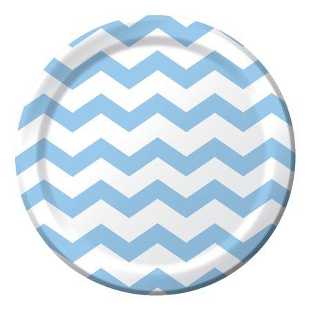 Club Pack of 192 Pastel Blue Chevron Pattern Paper Party Dinner Plates 9' - Blue Chevron Paper Plates