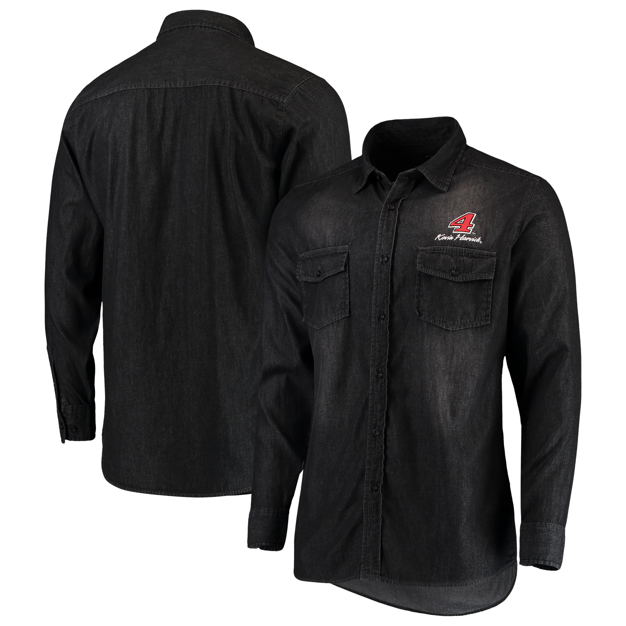 Kevin Harvick Antigua Outlook Long Sleeve Button-Up Chambray Shirt - Black