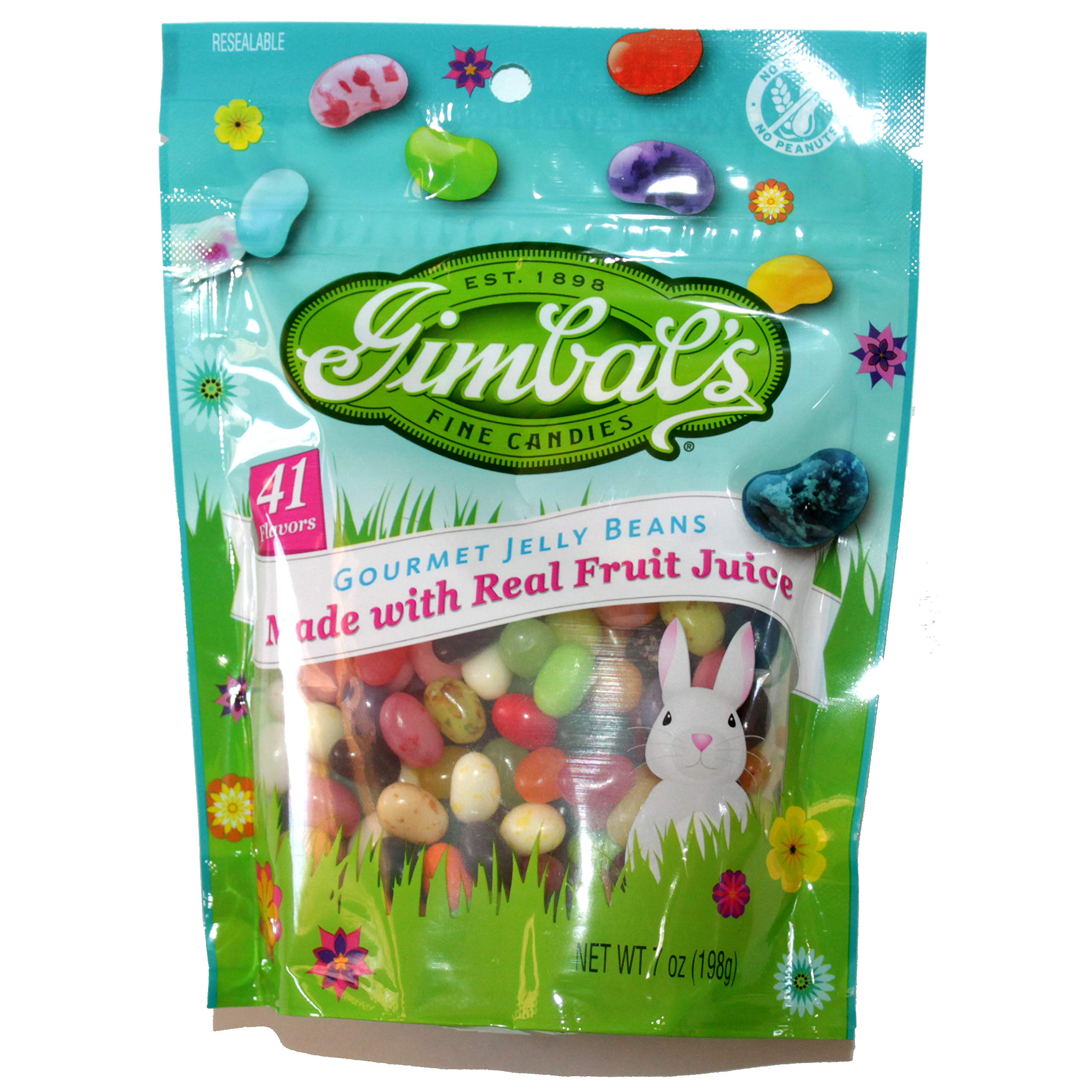 Gimbal's (1) 7 oz Bag Gourmet Jelly Beans Easter Candy 41 Flavors Made With Real Fruit Juice No Gluten No Peanuts 7 oz