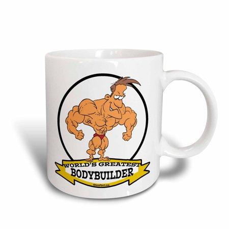 3dRose Funny Worlds Greatest Bodybuilder Men Cartoon, Ceramic Mug, 15-ounce](Funny Bodybuilder)