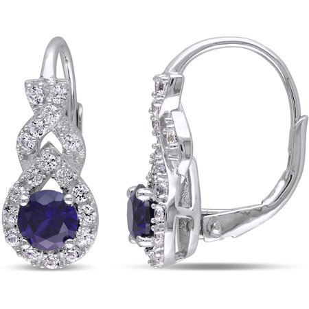 Created Sapphire Leverback Earrings (1-7/8 Carat T.G.W. Created Blue and White Sapphire Sterling Silver Halo Leverback Earrings)