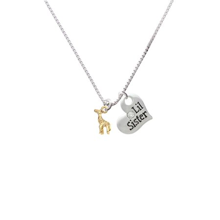 Goldtone Mini Giraffe Lil Sister Heart Necklace