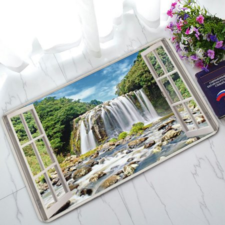 PHFZK Scenery Doormat, Open Window Panoramic View to Famous Huge Waterfall Doormat Outdoors/Indoor Doormat Home Floor Mats Rugs Size 30x18 inches