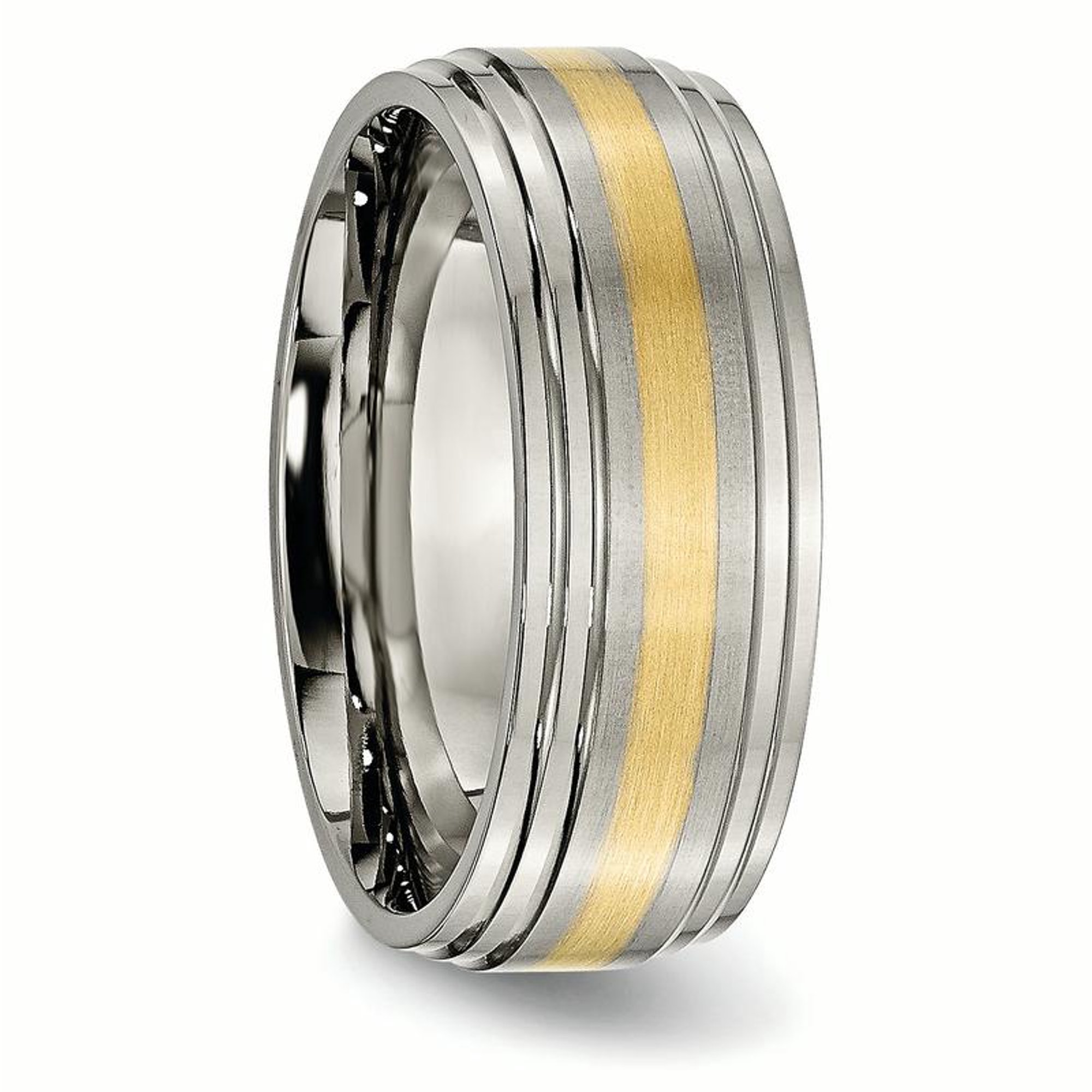Fashion Style Titanium Ridged Edge 14k Yellow Inlay 8mm Brushed/ Wedding Ring Band Size 12.50 Engagement & Wedding Jewelry & Watches