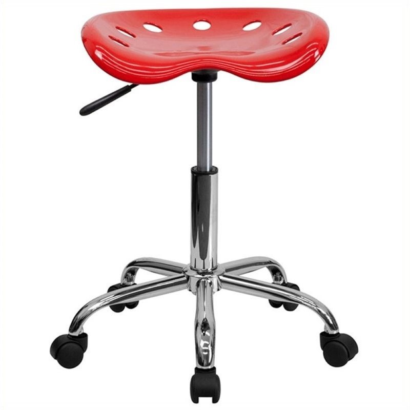 Scranton & Co Adjustable Bar Stool with Chrome Base in Red