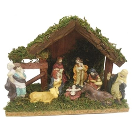Santas Forest Inc 63003 Decor Nativity Set With Stable, 9 Pieces